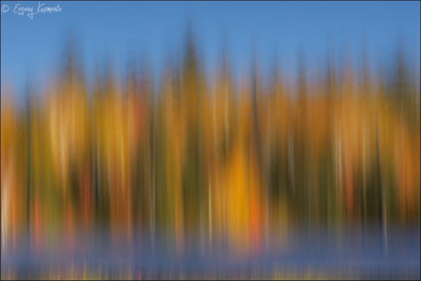 Зеркало озера Моховое, длинная выдержка с проводкой